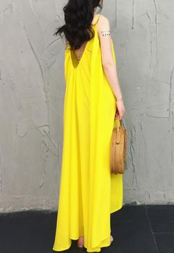 [수입] 노란노란 비치 원피스 30대여성쇼핑몰 결혼식하객패션 하객원피스 수입여성의류 원피스쇼핑몰 연예인원피스