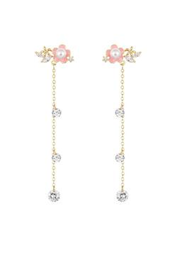 [수입] 핑크판도라 꽃 귀걸이