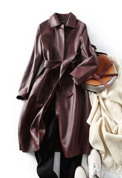 [수입] 선데이 양가죽 와인 트렌치 자켓
