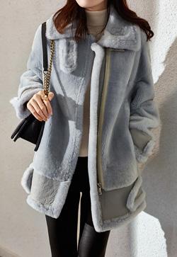 [수입] 쉬프가죽 보드라운 털 코트