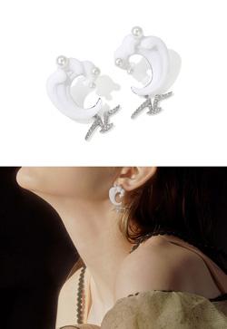[수입] 하얀파도 진주 귀걸이