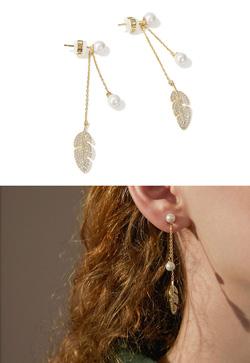 [수입] 골드잎새 진주 귀걸이