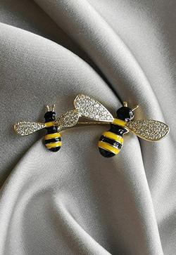 [수입] 꿀벌 옐로 브로치
