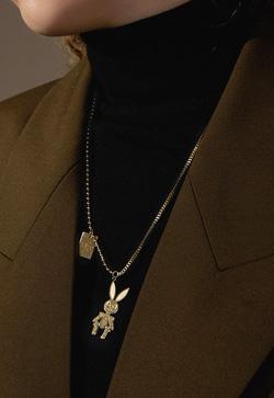 [수입] 관절토끼 스틸 목걸이