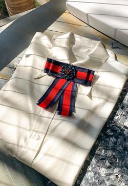 [수입] 실크쉐입 리본 셔츠