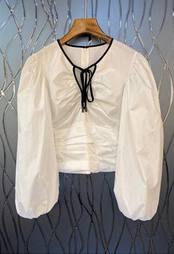 [수입] 실링 끈 퍼프 셔츠
