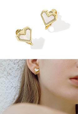 [수입] 앵글 하트 귀찌 귀걸이