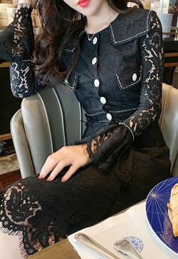 [수입] 로맨틱 레이스 커프스 셔츠&스커트 투피스 세트