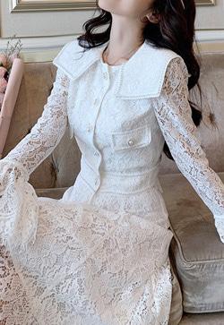 [수입] 로맨틱 레이스 하이얀 셔츠&스커트 투피스 세트