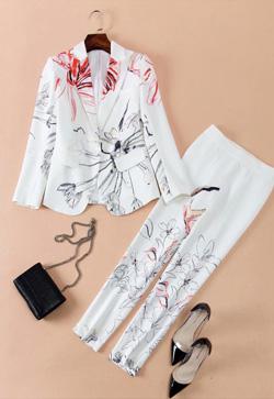 [수입] 꽃잎 드로우 자켓&팬츠 투피스 세트