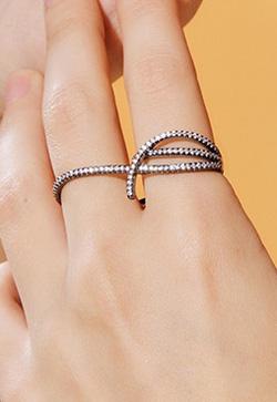 [수입] 다크라인 윙클 두손가락 반지