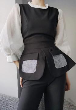 [수입] 메리트 블랙 셔츠&팬츠 투피스 세트