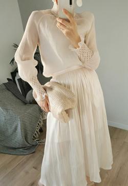 [수입] 살구살랑 셔츠&스커트 투피스 세트