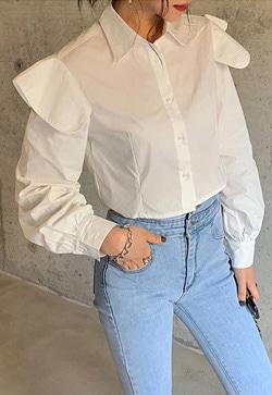[수입] 물결숄더 코튼 셔츠