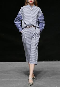 [수입] 멋스러운 블루체크 셔츠&팬츠 투피스 세트