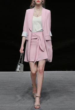 [수입] 클래식 핑크 자켓&스커트 투피스 세트