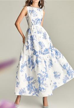 [수입] 맥시 블루 롱 원피스 30대여성쇼핑몰 결혼식하객패션 하객원피스 수입여성의류 원피스쇼핑몰 연예인원피스