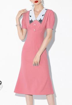 [수입] 레아나 자수카라 핑크 원피스