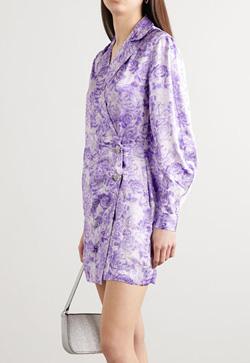 [수입] 바이올렛 패턴로즈 원피스
