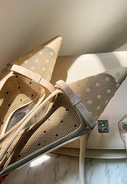 [수입] 도트 오브제 메쉬 슈즈 30대여성쇼핑몰 결혼식하객패션 하객원피스 수입여성의류 원피스쇼핑몰 연예인원피스