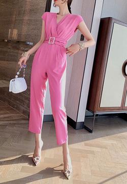 [수입] 베일의 핑크진주 점프수트