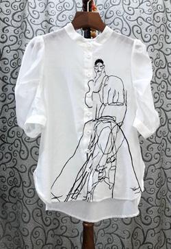[수입] 피크자수 셔츠