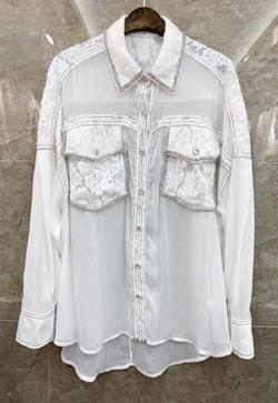 [수입] 레이스 큐빅믹스 셔츠