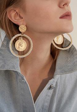 [수입] 코인동전 귀걸이 악세사리쇼핑몰 체인목걸이 이어커프 명품귀걸이 명품스타일