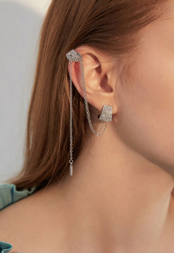 [수입] 플레인 실버체인 커프 귀걸이 악세사리쇼핑몰 체인목걸이 이어커프 명품귀걸이 명품스타일