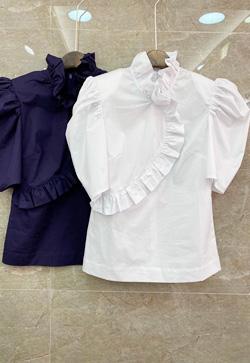 [수입] 모먼트 사선프릴 셔츠