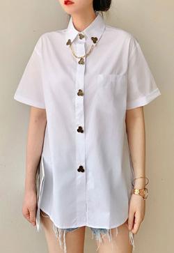 [수입] 버튼 비비라인 화이트 셔츠