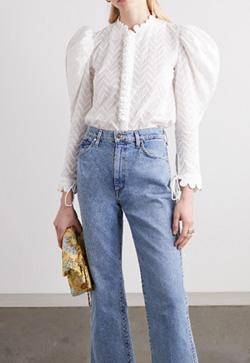 [수입] 자수 코나 화이트 셔츠