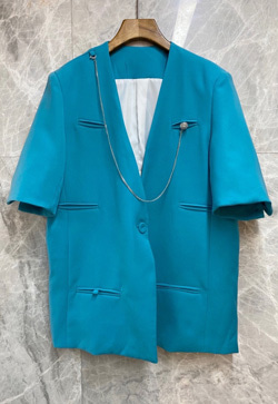 [수입] 라운지 노카라 블루 자켓