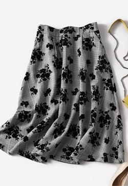 [수입] 뮬라체크 스커트 30대여성쇼핑몰 결혼식하객패션 하객원피스 수입여성의류 원피스쇼핑몰 연예인원피스