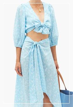 [수입] 잔꽃블루 매듭 스커트 30대여성쇼핑몰 결혼식하객패션 하객원피스 수입여성의류 원피스쇼핑몰 연예인원피스