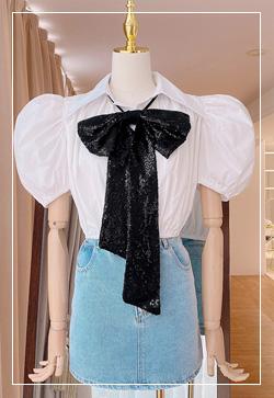 [수입] 라떼스팽글 퍼프 셔츠 30대여성쇼핑몰 결혼식하객패션 하객원피스 수입여성의류 원피스쇼핑몰 연예인원피스