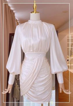 [수입] 이브닝 주름슬리브 원피스 30대여성쇼핑몰 결혼식하객패션 하객원피스 수입여성의류 원피스쇼핑몰 연예인원피스