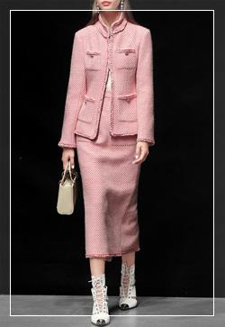 [수입] 젤리포켓 핑크 자켓&스커트 투피스 세트 30대여성쇼핑몰 결혼식하객패션 하객원피스 수입여성의류 원피스쇼핑몰 연예인원피스
