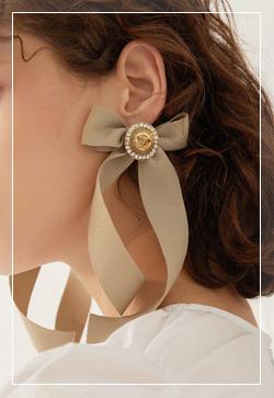 [수입] 로맨틱 빅리본 귀걸이 악세사리쇼핑몰 체인목걸이 이어커프 명품귀걸이 명품스타일