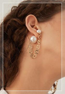 [수입] 투웨이 체인진주 골드 귀걸이 악세사리쇼핑몰 체인목걸이 이어커프 명품귀걸이 명품스타일