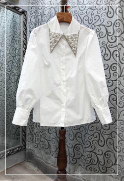 [수입] 비즈러쉬 뾰족카라 셔츠 30대여성쇼핑몰 결혼식하객패션 하객원피스 수입여성의류 원피스쇼핑몰 연예인원피스