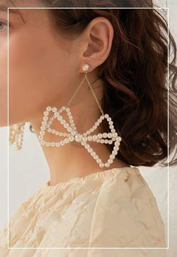 [수입] 헤이 더블리본 귀걸이 악세사리쇼핑몰 체인목걸이 이어커프 명품귀걸이 명품스타일
