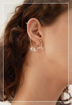 [수입] 투명골드볼 컨트롤 귀걸이 악세사리쇼핑몰 체인목걸이 이어커프 명품귀걸이 명품스타일