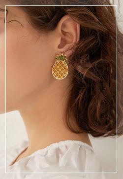 [수입] 옐로우 파인애플 귀걸이 악세사리쇼핑몰 체인목걸이 이어커프 명품귀걸이 명품스타일