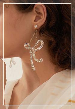 [수입] 마론 아트리본 귀걸이 악세사리쇼핑몰 체인목걸이 이어커프 명품귀걸이 명품스타일