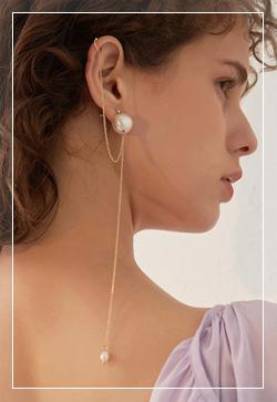 [수입] 싱크골드 진주볼 귀걸이 악세사리쇼핑몰 체인목걸이 이어커프 명품귀걸이 명품스타일