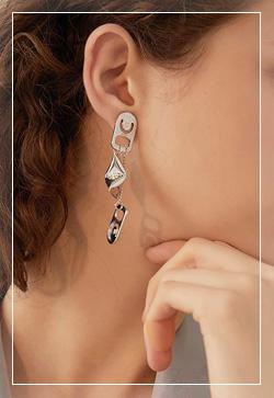 [수입] 실버로그 찰랑 귀걸이 악세사리쇼핑몰 체인목걸이 이어커프 명품귀걸이 명품스타일
