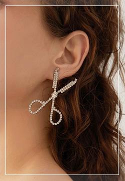 [수입] 가위실버 큐빅 귀걸이 악세사리쇼핑몰 체인목걸이 이어커프 명품귀걸이 명품스타일
