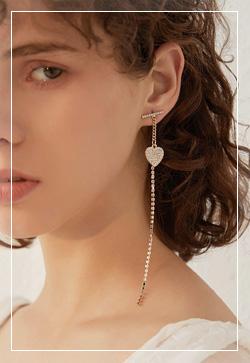 [수입] 하트드롭 일자 귀걸이 악세사리쇼핑몰 체인목걸이 이어커프 명품귀걸이 명품스타일