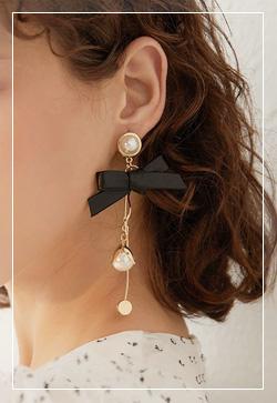 [수입] 시크리본 진주드롭 귀걸이 악세사리쇼핑몰 체인목걸이 이어커프 명품귀걸이 명품스타일